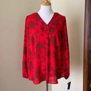 Apt. 9 patterned red blouse